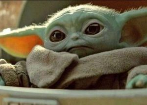Baby Yoda during his first scene in The Mandalorian