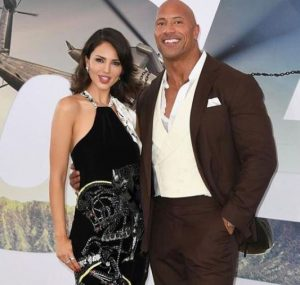 """Eiza Gonzalez with Dwayne Johnson """"The Rock"""" during an event"""