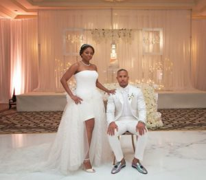 Jemele Hill with her husband, Ian Wallace on the day of their wedding ceremony