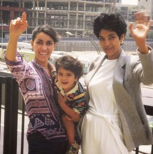 Leila Janah during her childhood with her mother and aunt