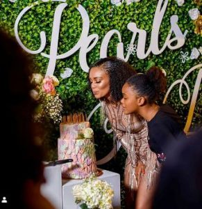 Pearl Thusi celebrating her last birthday in 2019 with her sisters