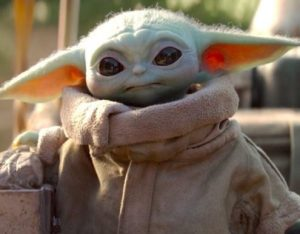 The image of Baby Yoda from the Stars Wars franchise