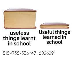 Useful Vs Useless Things Learned in school