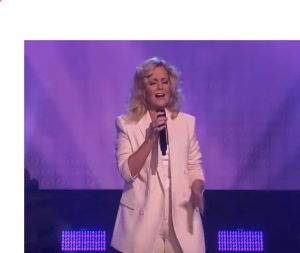 Charlotte Awbery while performing Shallow song on the Ellen Degeneres Show