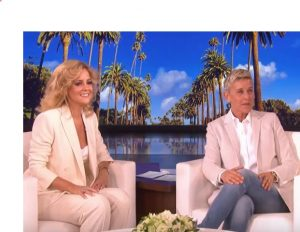 Charlotte Awbery with Ellen DeGeneres on her show
