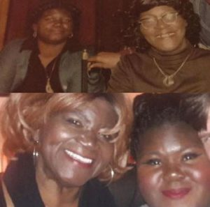 Gabourey Sidibe with her mother in lower photo, her mother with her grandmother in upper photo