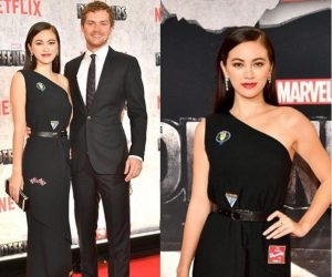 Jessica Henwick with Finn Jones on the red carpet in 2017