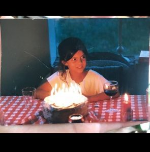 The childhood picture of Monica Barbaro while celebrating her birthday