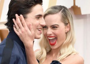 Timothee Chalamet while photobombing Margot Robbie at Oscars 2020
