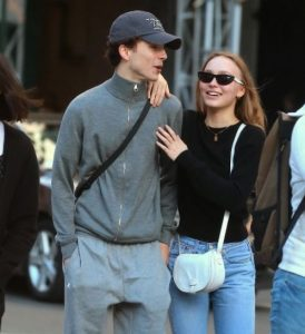 Timothee Chalamet while walking on the NYC streets with Lily-Rose Depp