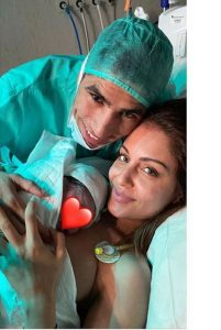 Hiba Abouk with her husband Achraf Hakimi and her baby