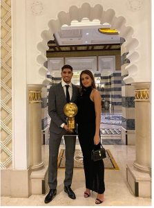 Hiba Abouk with her Achraf Hakimi, wishing him for his success