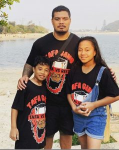 Justin 'Bad Man' Tafa with family