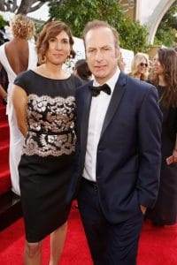 Bob Odenkirk with his wife at 2016 Golden Globe Red Carpet