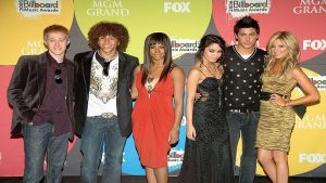 Lucas Grabeel with his High School Musical co-stars