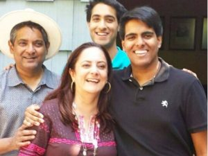 Floyd Cardoz with his wife Barkha and two sons