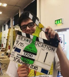 Asa Butterfield on the set of Sex Education