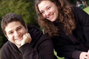 Dustin Moskovitz with his longtime girlfriend turned wife, Cari Tuna Moskovitz