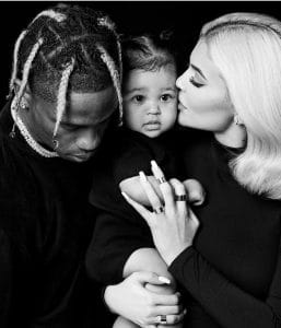 Kylie Jenner and Travis Scott with her daughter Stormi Webster