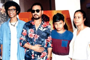 Irrfan Khan with his wife Sutapa Sikdar and sons Babil and Ahan.