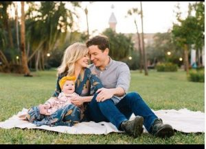 Dreama Walker with her husband Christopher McMahon and daughter, Hanalei
