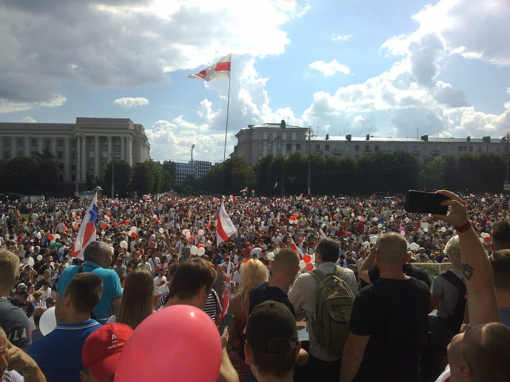 Protesters gathering in Minsk