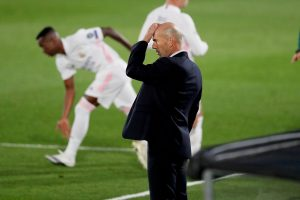 Zidane reaction after Real Madrid conceded goal.