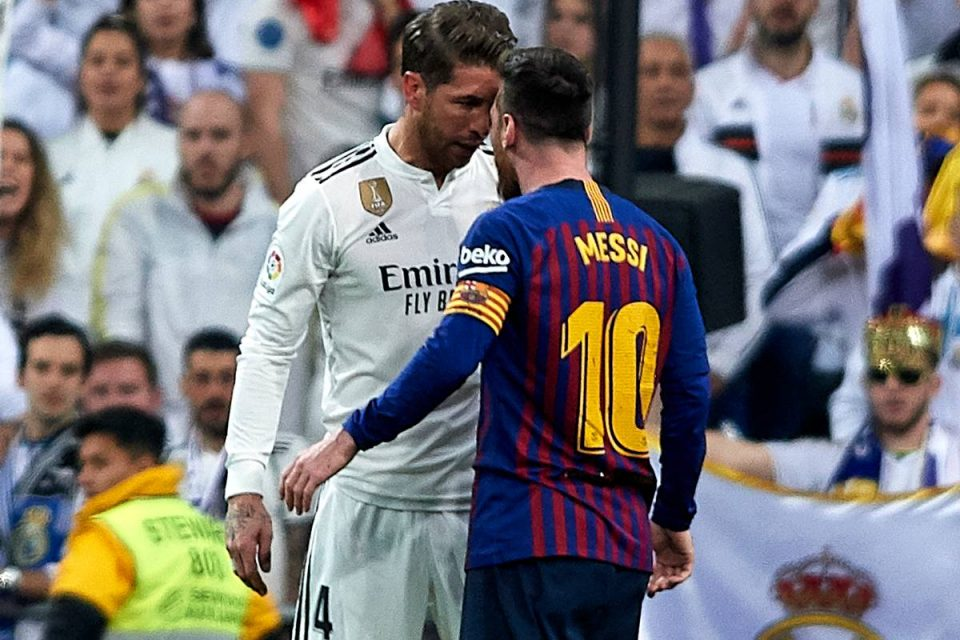 Leo Messi and Sergio Ramos in the El Clasico 18/19.