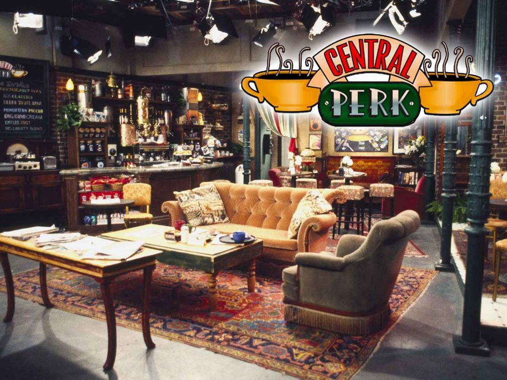 The epic Central Perk and the orange couch of FRIENDS tv show