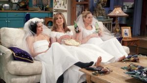 FRIENDS tv show: Monica, Rachel and Phoebe from left in the set