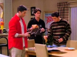 Ross, Chandler and Joey from left