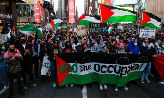 Demonstrators protest near Israeli Consulate following flare-up of Israeli-Palestinian violence in New York