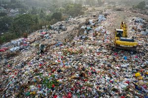 landfill with crane in it