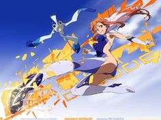 anime of girl flying with flames