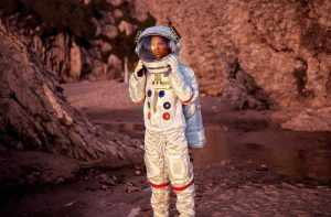 woman wearing space suit