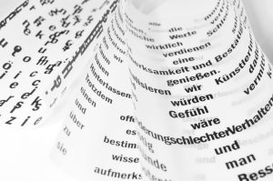 German text on pieces of paper