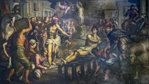 painting of man being roasted